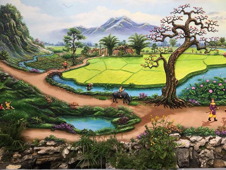 Đắp phù điêu tranh nổi tại TP Vinh Nghệ An